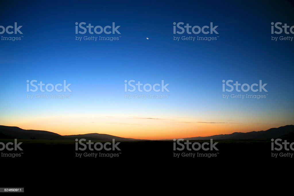 Sunset over Sossusvlei sand dunes, Namibia stock photo