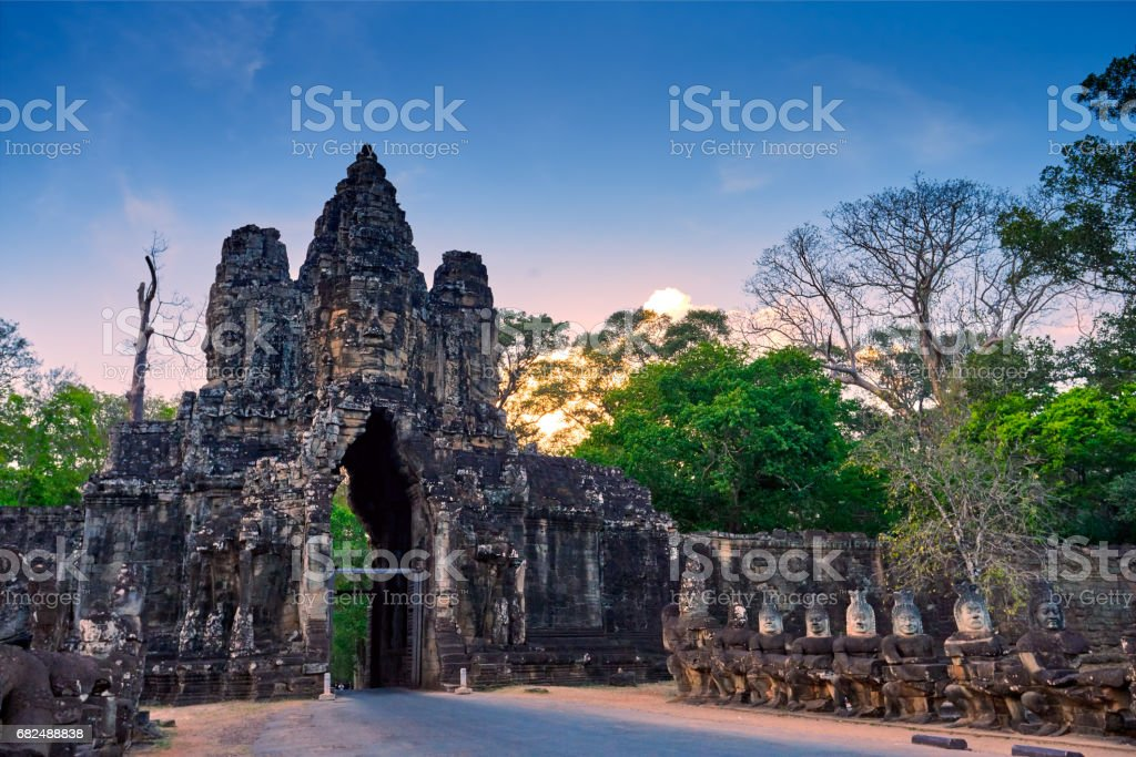 Sunset over South Gate of Angkor Thom in Siem Reap, Cambodia stock photo