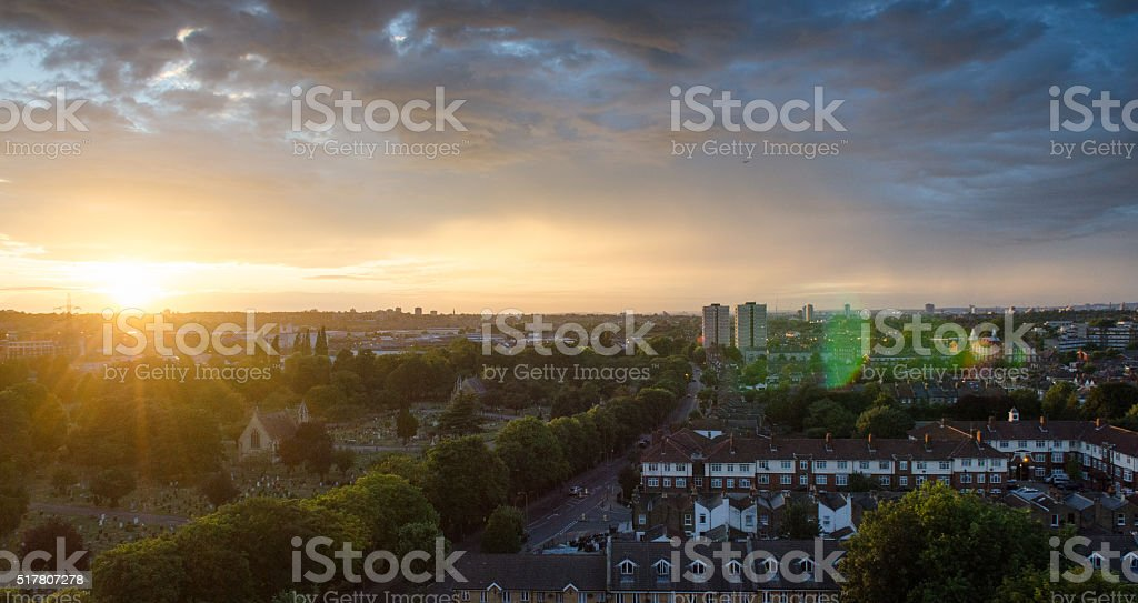 Sunset over South London stock photo
