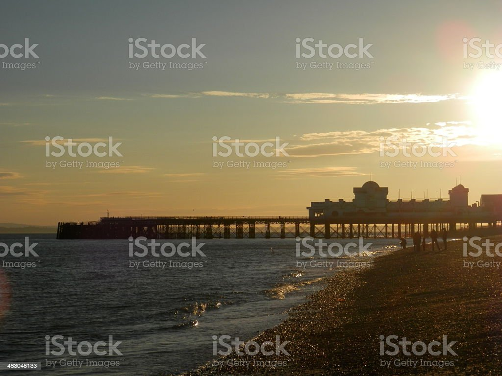 Sunset over South Parade Pier, Southsea stock photo
