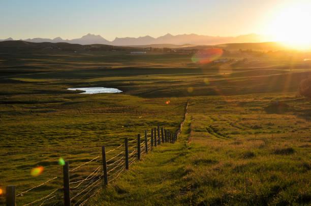 Sunset over southern Alberta prairie grasslands. stock photo