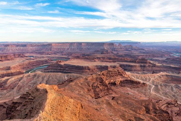 Sunset over Southwest USA desert landscape - Colorado River Utah stock photo