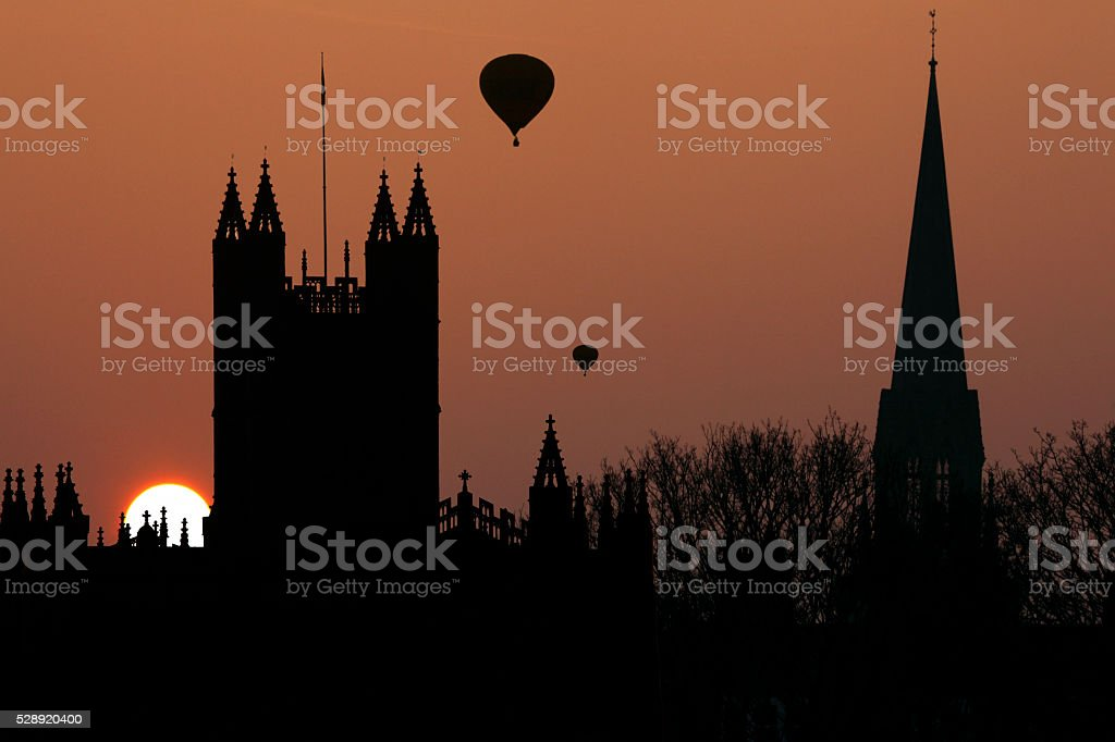 Sunset over spires of the City of Bath - England stock photo
