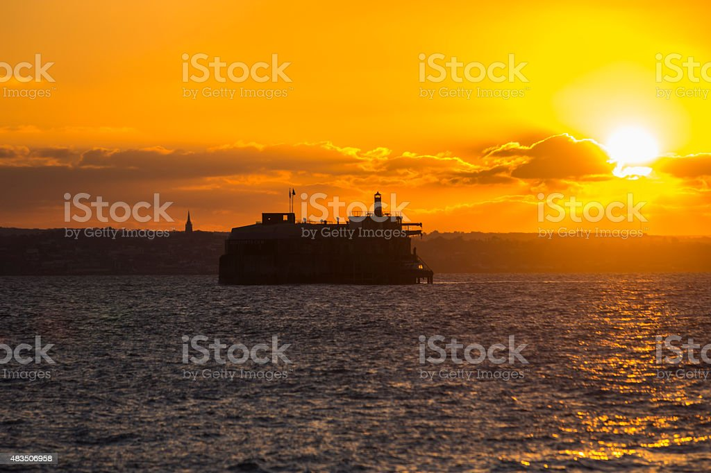 Sunset over Spitbank Fort, the Solent, Portsmouth, UK stock photo
