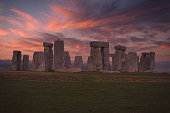 Evening skies over the ancient monument of Stonehenge.