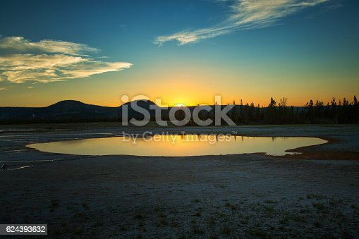 istock Sunset over sulfur pool at Yellowstone park 624393632