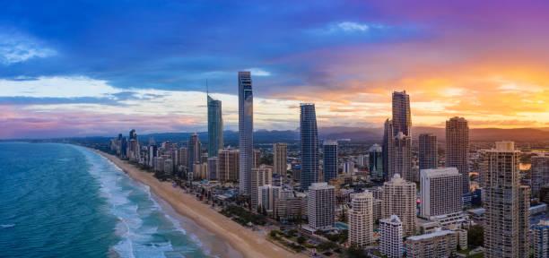 Sunset over Surfers Paradise on the Gold Coast stock photo