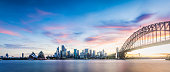 Panorama of sydney skyline at sunset. Colorful clouds are over the city.