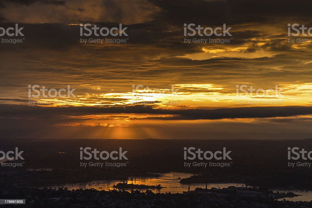 Sunset over Sydney with natural sun rays royalty-free stock photo
