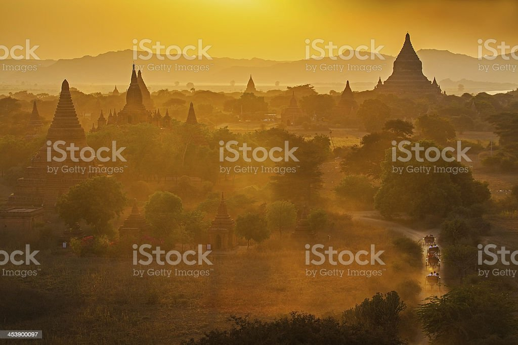 Sunset over temples of Bagan in Myanmar royalty-free stock photo