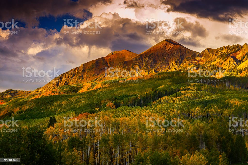 Sunset Over The Anthracite Range In Colorado stock photo