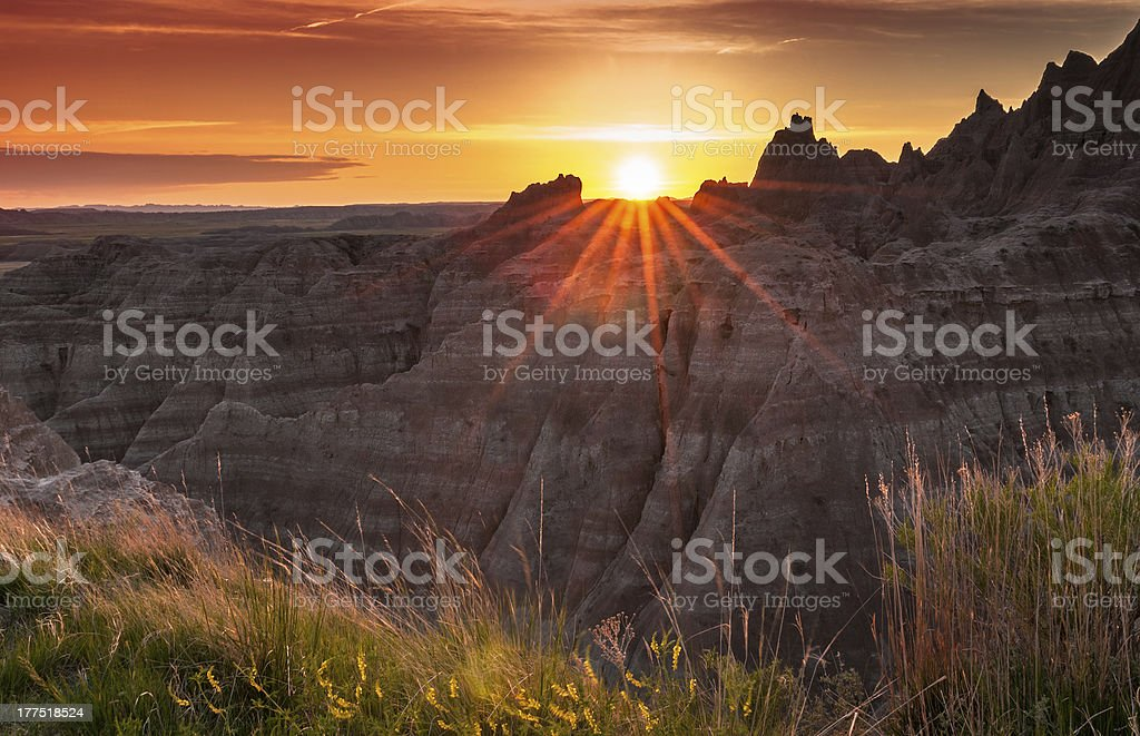 Sunset over the Badlands of South Dakota stock photo