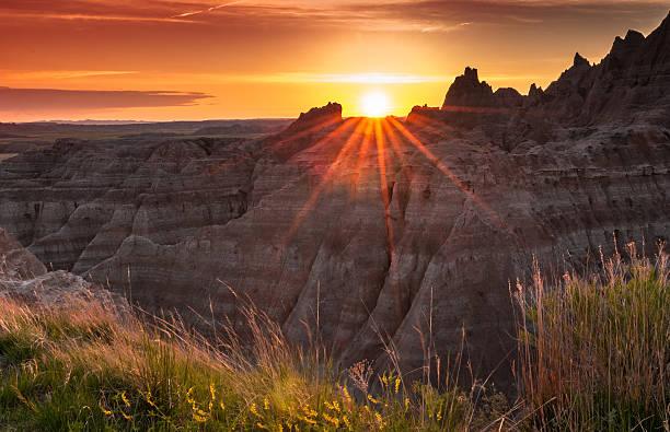Sunset over the Badlands of South Dakota stock photo
