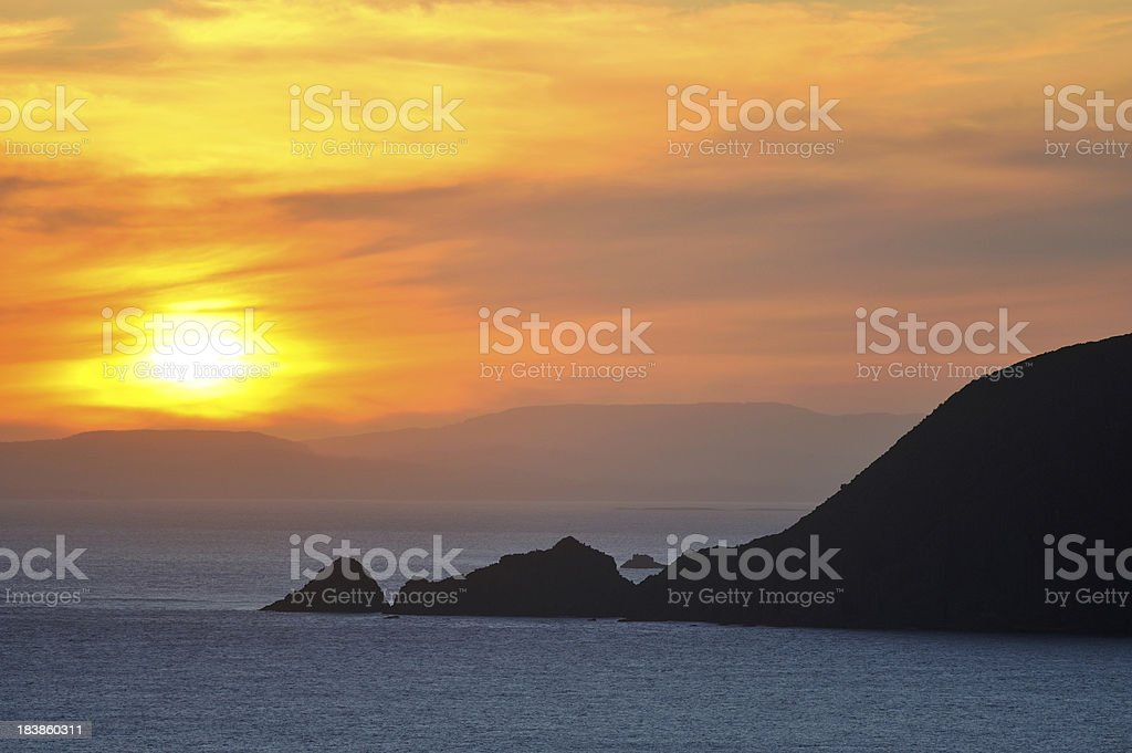 Sunset Over the Bay at Bruny Island, Tasmania stock photo