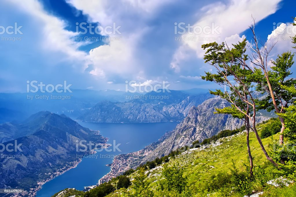 Sunset over the bay of Kotor in Montenegro, panorama of mountain stock photo