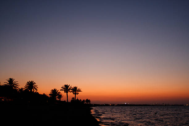 Sunset over the beach in Monastir, Tunisia圖像檔