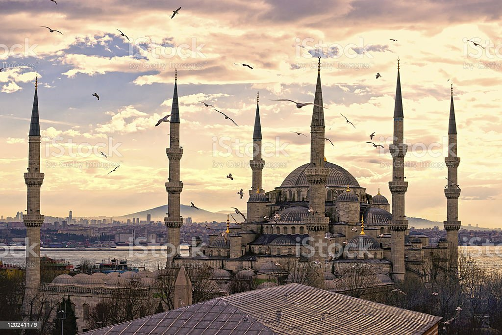 Sunset over The Blue Mosque in Sultanahmet district, Istanbul, Turkey. stock photo
