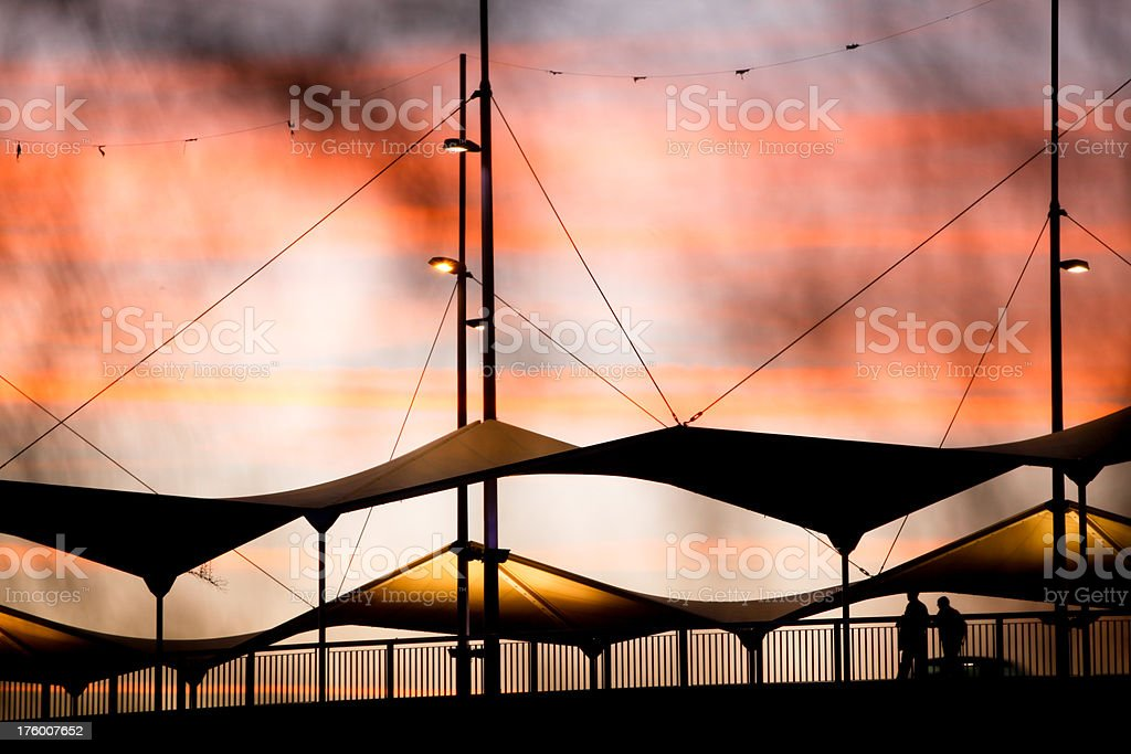 Sunset over the bridge royalty-free stock photo