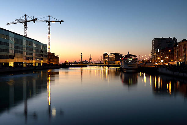 Sunset over the canals of Malmo bildbanksfoto