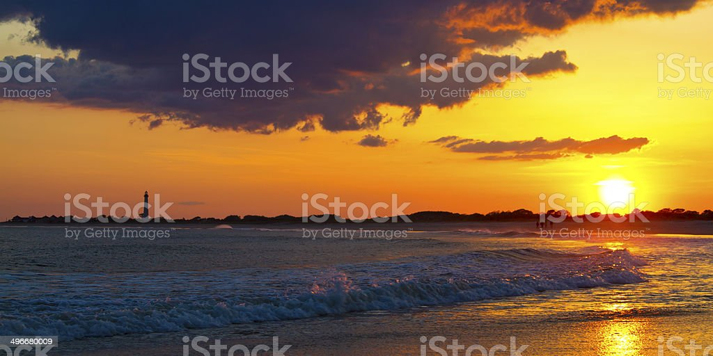 Sunset over the Cape May New Jersey Lighthouse stock photo