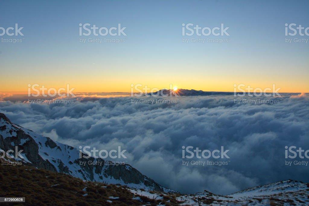 sunset over the carpathian mountains stock photo