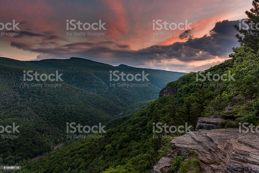Sunset Over the Catskill Mountains stock photo