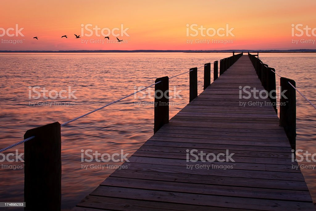 Sunset over the channel royalty-free stock photo