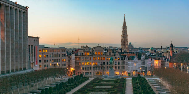 Sunset over the city center of Brussels seen from Mont des Arts hill stock photo