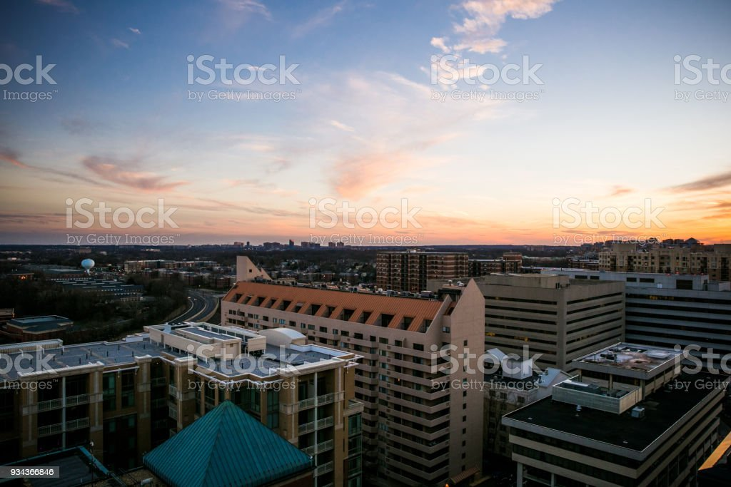 Sunset over the city in Washington DC stock photo