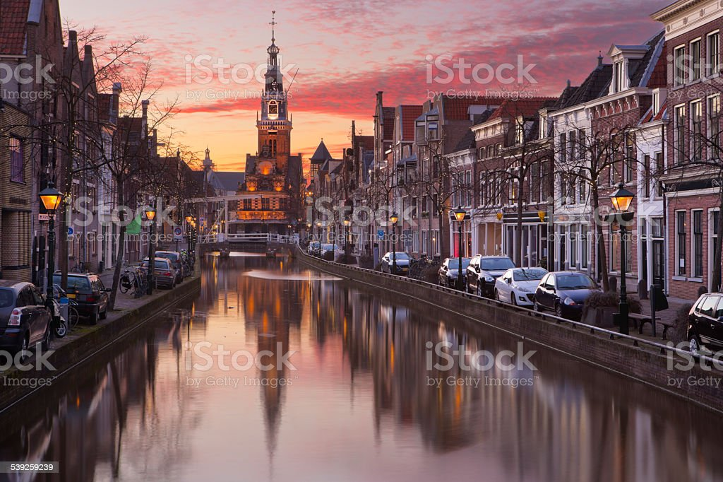 Sunset over the city of Alkmaar, The Netherlands stock photo