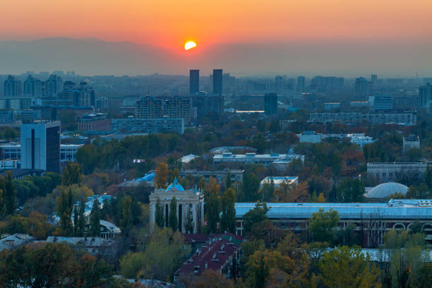 Sunset over the city of Almaty in Kazakhstan stock photo