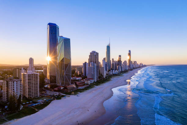 Sunset over the city of Gold Coast looking from the south stock photo
