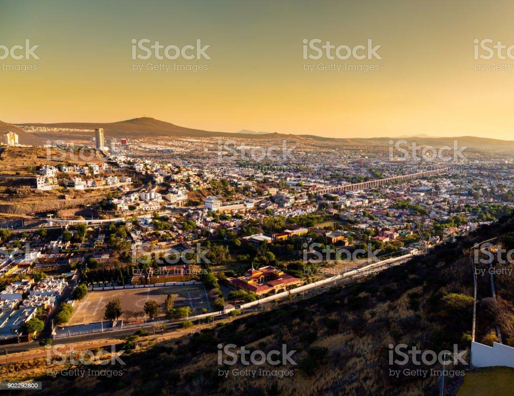 Sunset over the city of Queretaro Mexico. stock photo