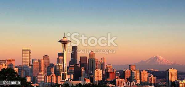 Summer sunset view of Seattle skyline in Washington State of the United States