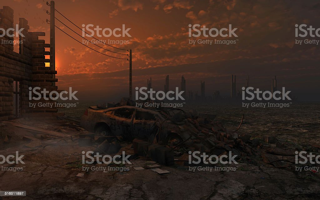Sunset over the city ruins stock photo