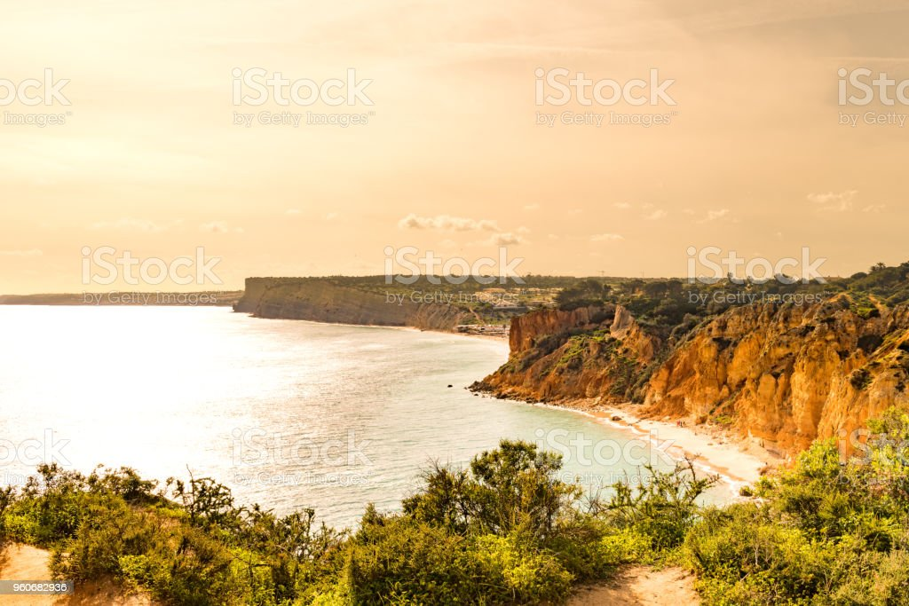 Sunset over the cliffs and beaches stock photo
