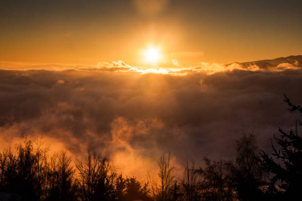 Sunset over the clouds, Southamerican Andes stock photo