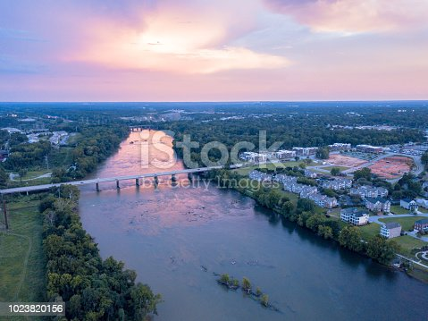 Aerial photograph shot at sunset over the Congaree River in Columbia, South Carolina.