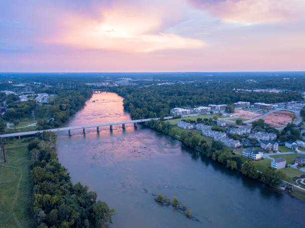 Sunset over the Congaree River Aerial photograph shot at sunset over the Congaree River in Columbia, South Carolina. south carolina stock pictures, royalty-free photos & images