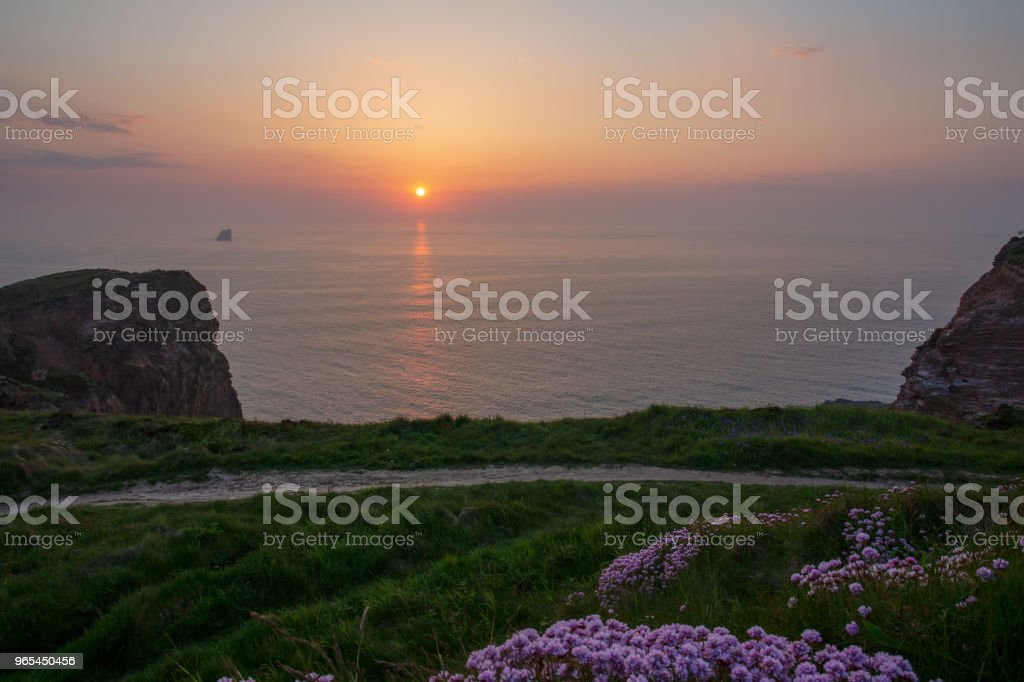 Sunset over the Cornish Coastpath at Perranporth Airfield, Cornwall royalty-free stock photo