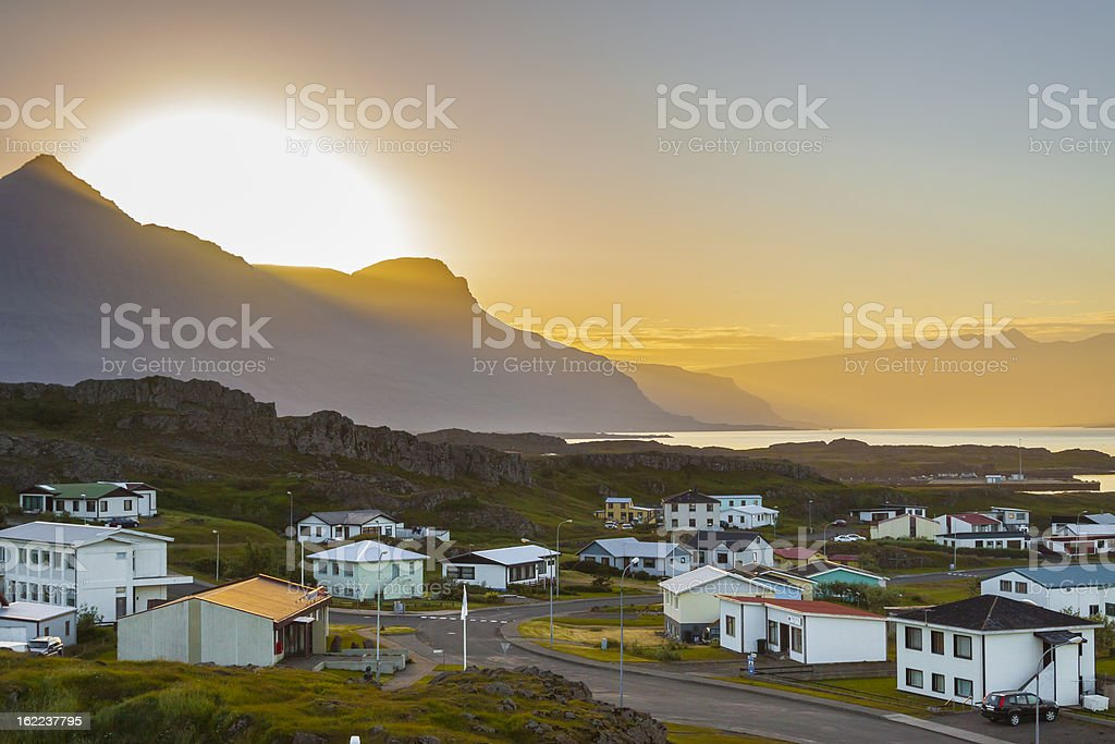 Sunset over the  Djupivogur village - Iceland. royalty-free stock photo