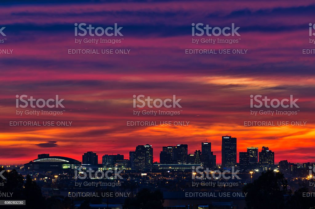 Sunset over the downtown Phoenix, Arizona skyline. stock photo