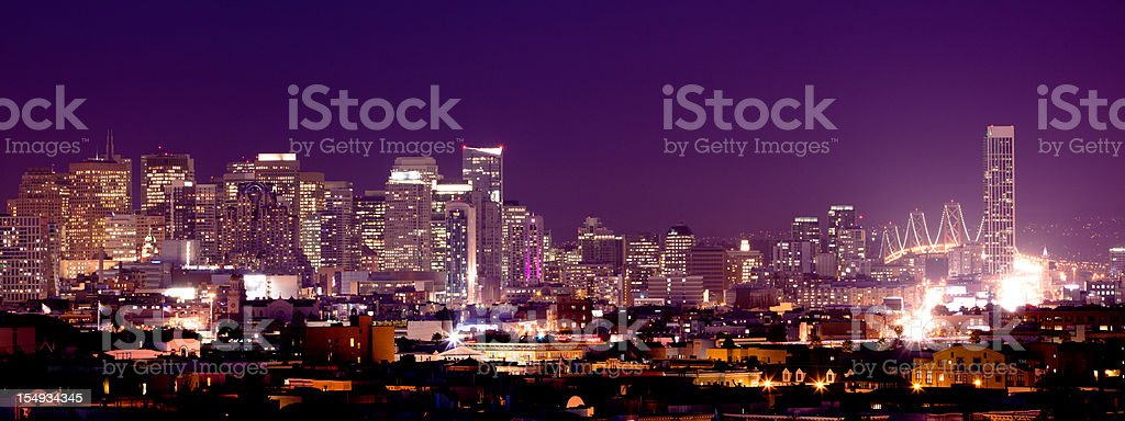 Sunset over the financial district in San Francisco royalty-free stock photo