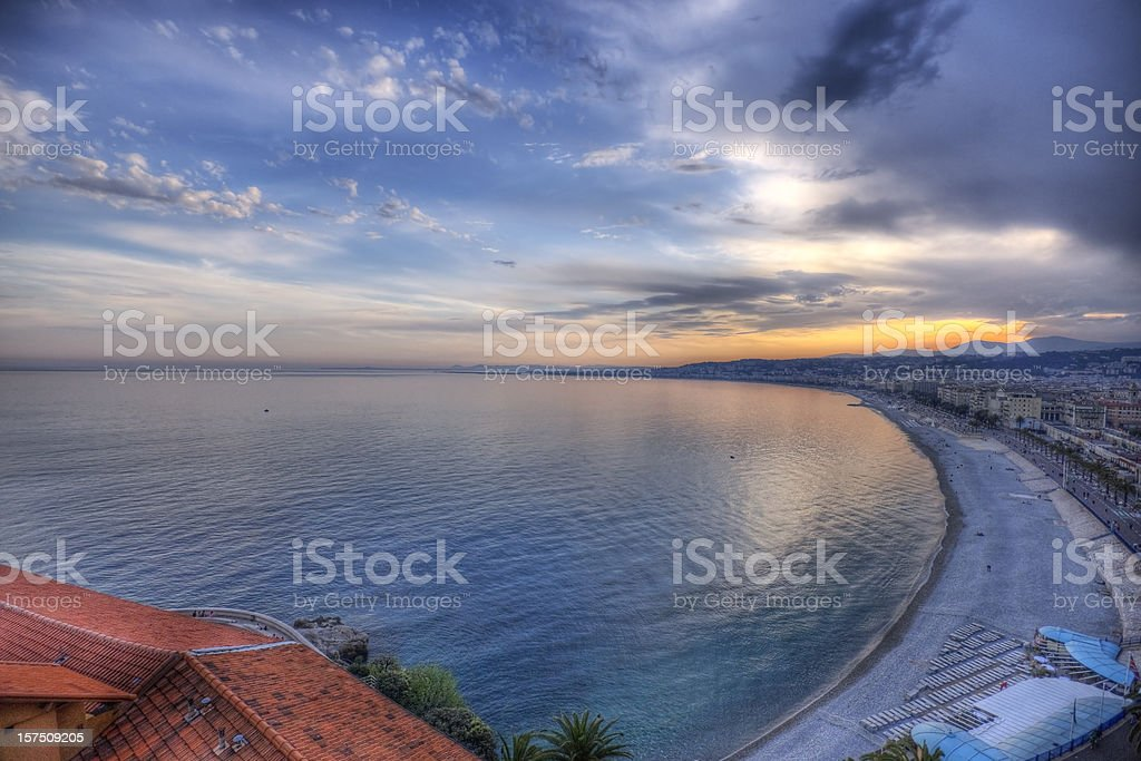 Sunset Over the French Riviera royalty-free stock photo