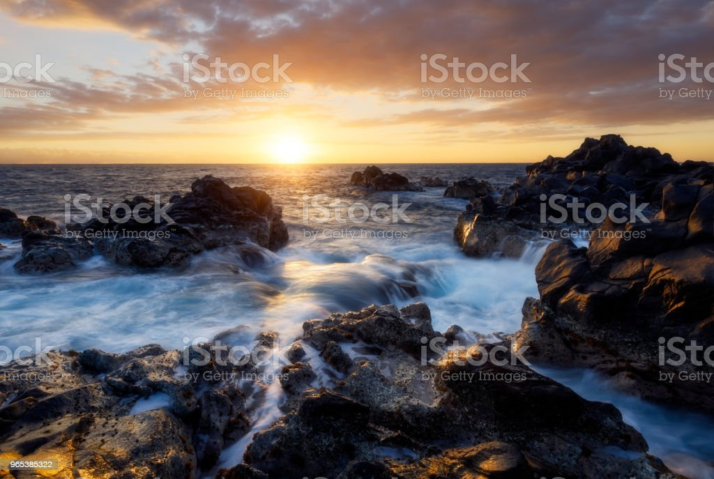 Sunset over the Gouffre of Etang Sale in Reunion Island royalty-free stock photo
