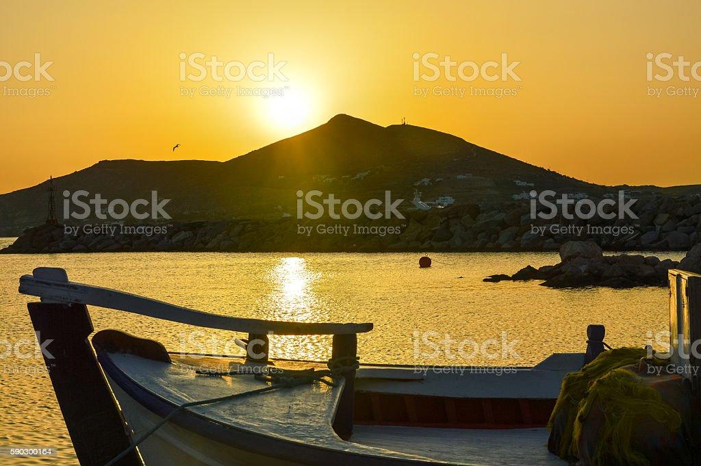 Sunset over the Greek Isles - Paros, Greece royaltyfri bildbanksbilder