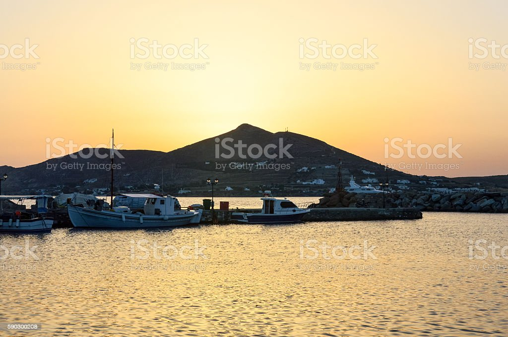 Sunset over the Greek Isles - Paros, Greece royaltyfri bildbanksbilder