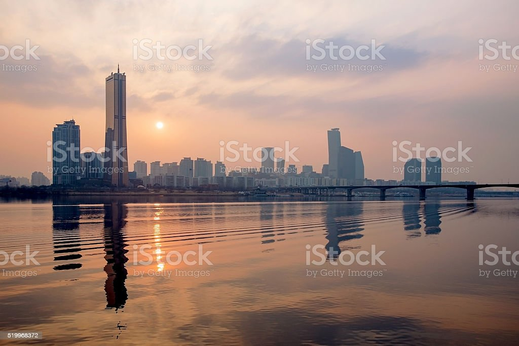 Sunset over the Han river with Yeouido stock photo
