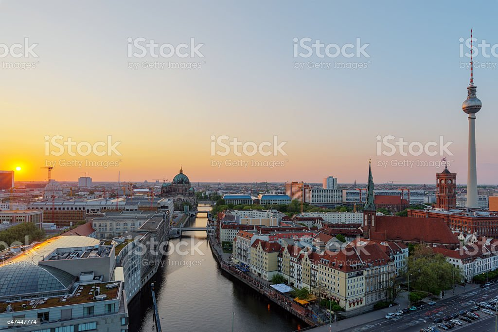 Sunset over the heart of Berlin stock photo