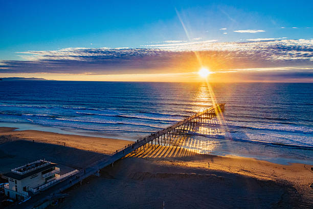 Sunset Over the Hermosa Pier stock photo